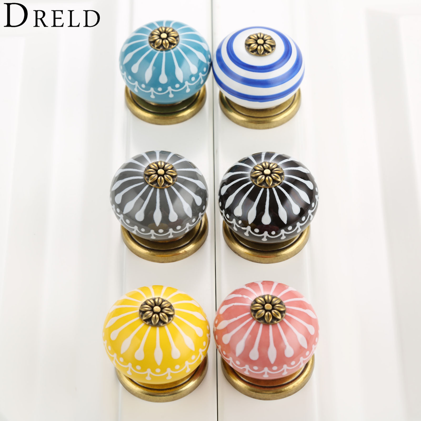 DRELD Ceramic Round Furniture Handles Cabinet Knobs and Handles Door Knobs Cupboard Drawer Kitchen Pull Handle Home Decoration luxury gold czech crystal round cabinet door knobs and handles furnitures cupboard wardrobe drawer pull handle