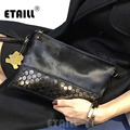 2017 Studded Horsehair Genuine Leather Envelope Rivet Clutch Famous Luxury Real Leather Bags Women Messenger Celebrity Bag