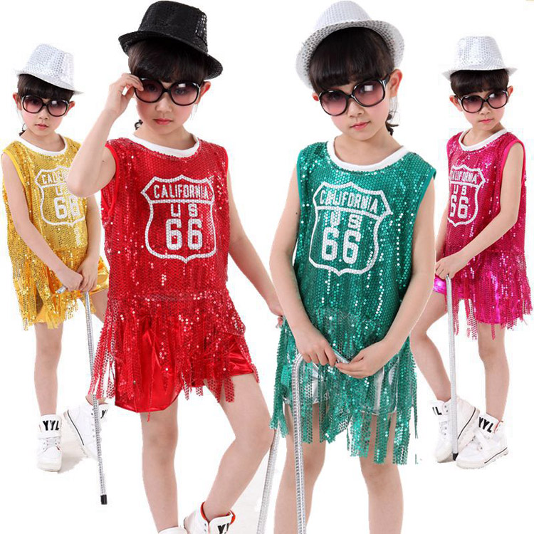 10pcs/lot Free Shipping Sequin Children Hip Hop Dance Costumes for Girls Kids Stage Competition Ballroom Jazz Dancewear Clothes