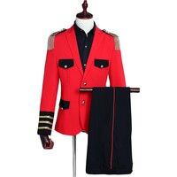 Red suits For Men 2019 Summer men blazer with pants 2 pcs tuxedo Tassel Epaulettes Military dress Suit Uniform costume homme