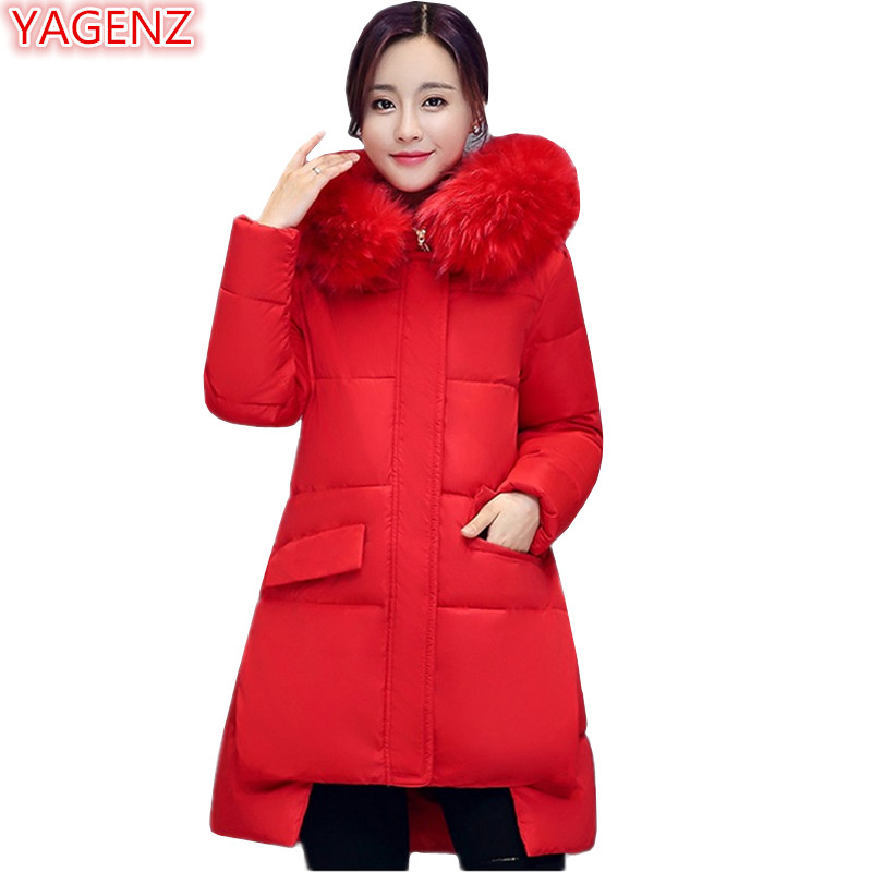 YAGENZ Winter Women Cotton Hooded Tops Women's Clothing Keep Warm Cotton Coat Long Section Fur Collar Thickening Cotton Tops 476 europe and the united states long sleeve hooded keep out the cold winter to keep warm and comfortable cotton coat