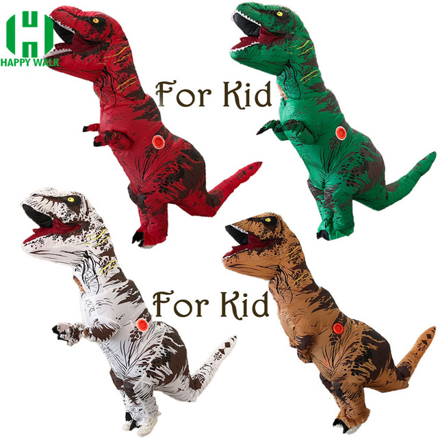Inflatable Dinosaur T REX Costume Children Girl Boy Blowup Halloween Cosplay Inflatable Costume Party Costume for Kids 1.2m-1.4m