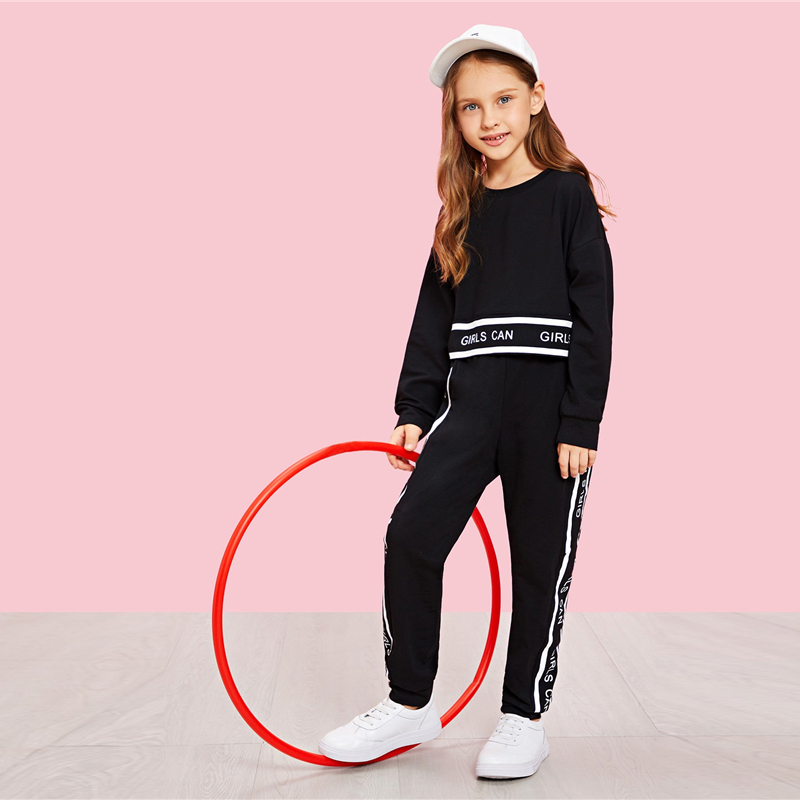 SHEIN Girls Lettering Trim Casual Pullover And Pants Set Kids Clothing 19 Spring Active Wear Long Sleeve Girls Clothes 8