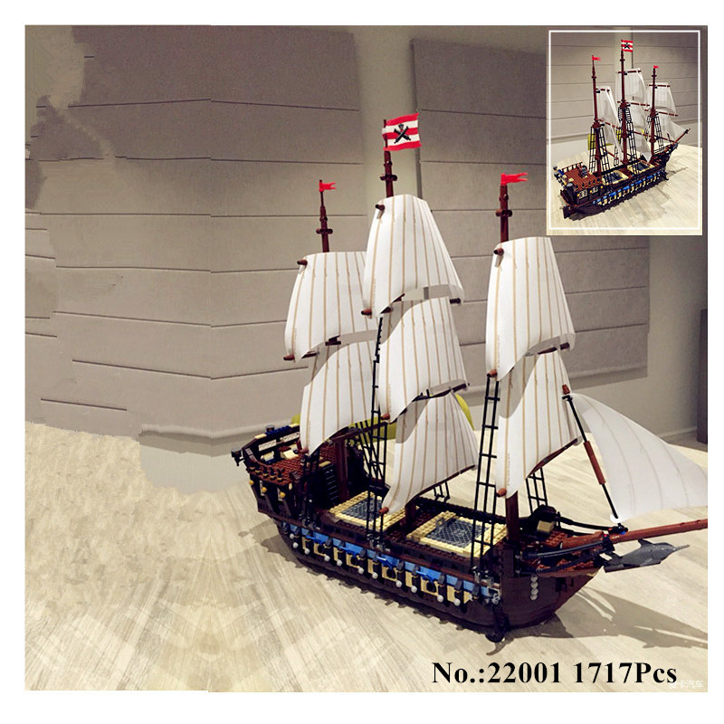 IN STOCK H&HXY NEW 22001 Pirate Ship Imperial warships LEPIN Model Building Kits  Block Briks Toys Gift 1717pcs Compatible10210 lepin 22001 imperial warships 16002 metal beard s sea cow model building kits blocks bricks toys gift clone 70810 10210