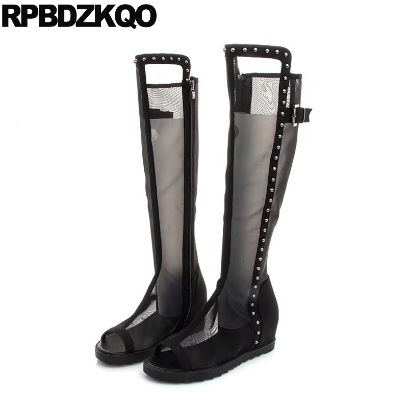 Black Knee High Mesh Stud Shoes Height Increased Metal 2017 Summer Women Heel Long Side Zip Boots Peep Toe Rivet Ladies Wedge muffin wedge high heel stretch women extreme fetish casual knee peep toe platform summer black slip on creepers boots shoes