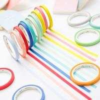 24 Kleuren 5mm * 7 m Effen Pure Kleur Slanke Diy Papier Scotch Washi Tape Candy Kleurrijke Decoratieve Boek Masking Tapes Schoolbenodigdheden