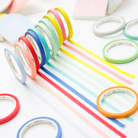 24 Colors 5mm 7m Solid Pure Color Slim Diy Paper Scotch Washi Tape Candy Colorful Decorative