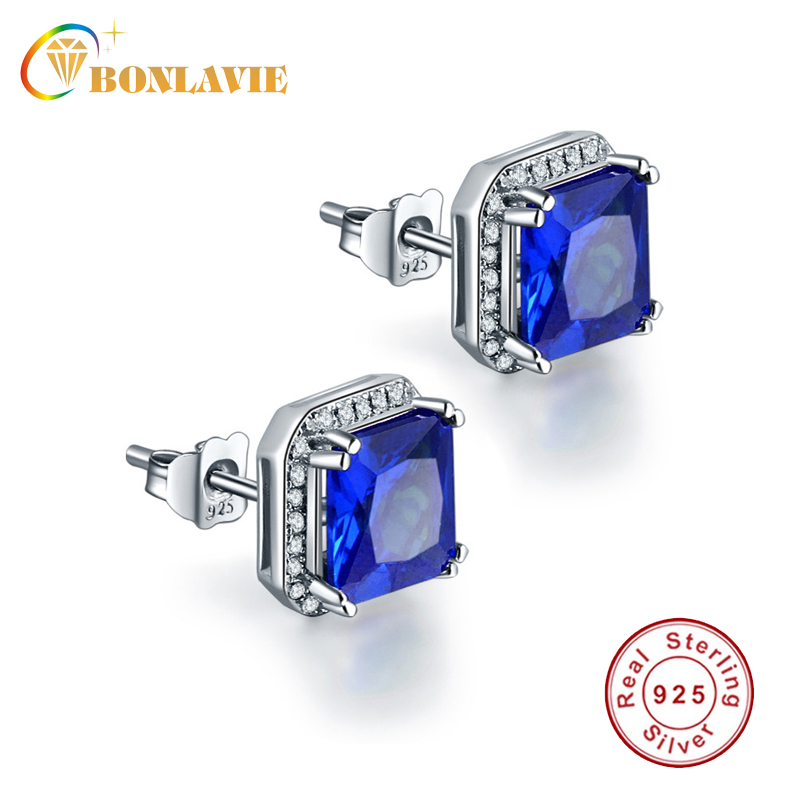 1 Pair Woman Fashion 925 Silver Sky Blue Elephant crystal Charm Stud Earring NEW