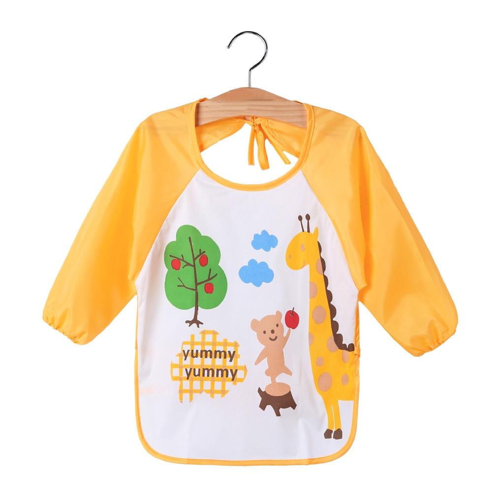 New Children Baby Todders Waterproof Long Sleeve Art Smock Bibs Apron Cartoon Feeding baberos bavoir clothing