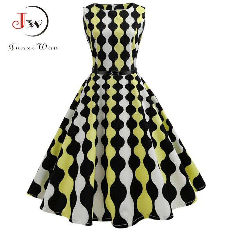 Floral Print Women Summer Dress Hepburn 50s 60s Retro Swing Vintage Dress A-Line Party Dresses With Belt jurken Plus Size 1