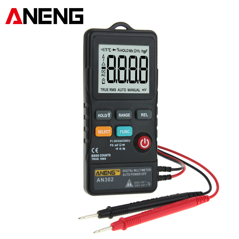ANENG AN302 Portable Slim Card Type Digital Multimeter 8000 Counts AC DC Voltmeter Ohm Voltage Frequency Meter with LED Light