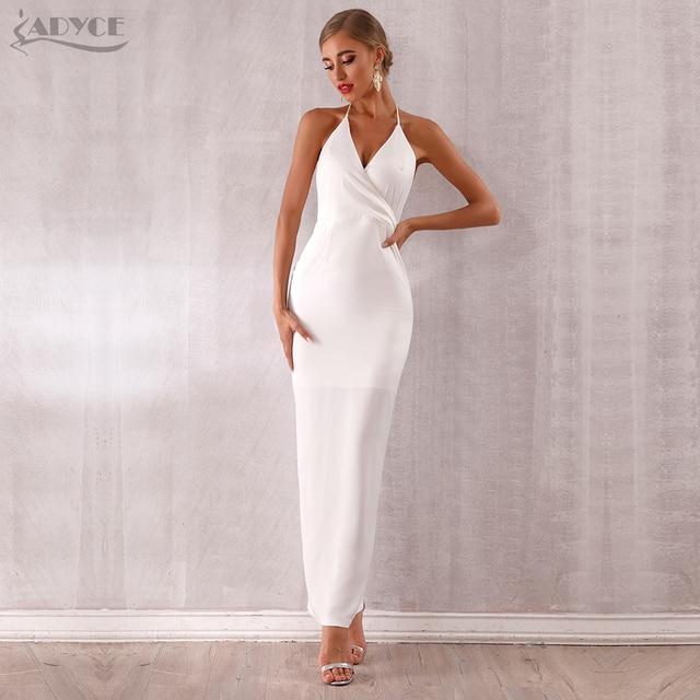 Adyce 2019 New Summer Maxi Celebrity Evening Party Dress Women Vestidos Halter Sexy V Neck Backless Sleeveless White Club Dress