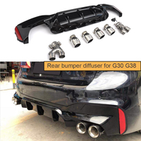 For G30 Rear Bumper Diffuser for BMW G30 G38 M Sport 540i Sedan 4 Door 2018 2019 with 4 Exhaust Tips Diffuser Lip Spoiler