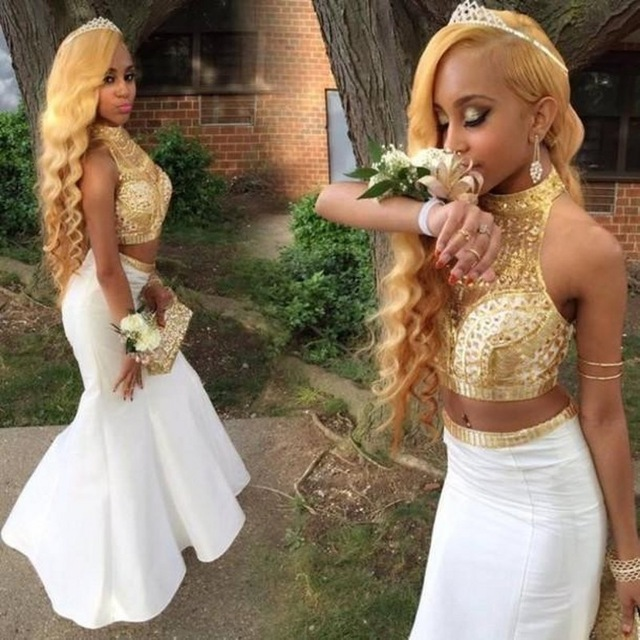 f7696640b231 New African High Neck White and Gold Prom Dresses 2017 Floor Length Crystal  Beaded Fitted Mermaid Two Piece Prom Dress Long