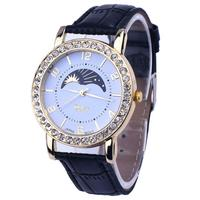 Fashion Lady Casual watch Women Rhinestone Analog Leather Watches Quartz Wrist Watch Watches quartz wristwatch Relogio Feminino