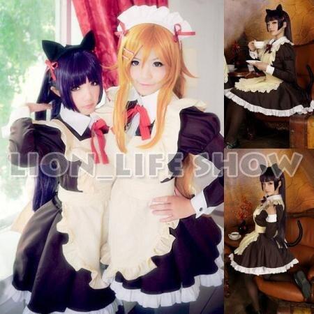 Biamoxer Womens Girls Sexy Anime Cat's Tail Gokou Ruri Kousaka kirino Cosplay Maid Waitress Dress Uniform Cosplay Costume