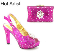 Hot Artist New European Style Rhinestone Shoes And Evening Bag Set Fashion Woman High Heel Shoes