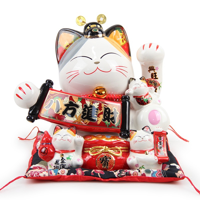 Japonais Grand Chat Chanceux Ornement En Céramique Tirelire Creative La Maison Boutique De Décoration D'ouverture Cadeaux Chat Royal Feng Shui Décoration Artisanat
