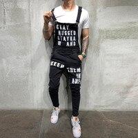 2019 Men's Hole Pocket Jeans Overalls Letter Printed Jeans Jumpsuit For Male Streetwear Suspender Pants Size S-XXL