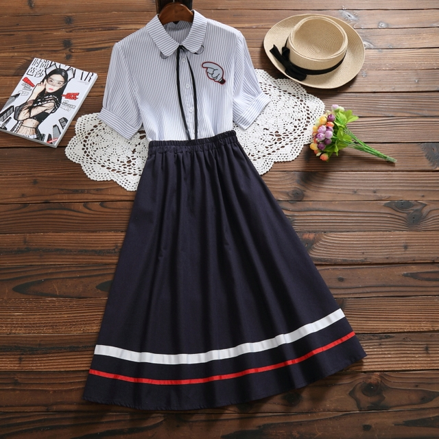 27aac6d6eb Mori Girl Elegant Summer Women Outfit Stripe Casual Female Blouse High  Waist Vintage Cotton Linen Skirt Sweet 2 Pieces Cute Sets
