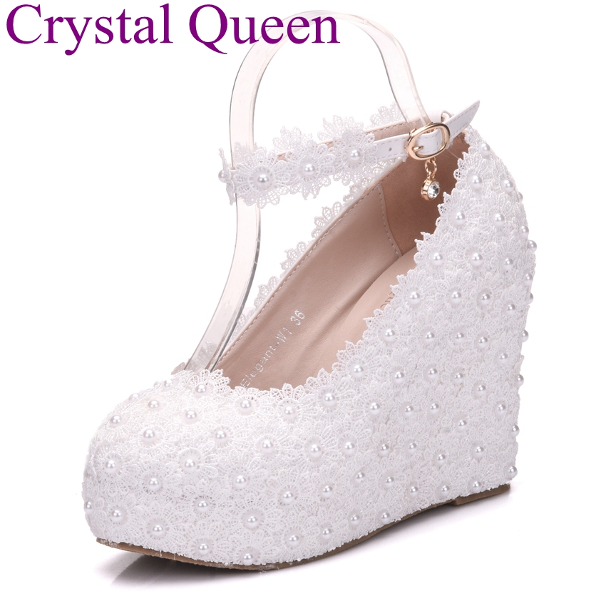 Crystal Queen White Lace Wedges Shoes Platform Wedges Heels White Wedges Women Shoes Lace and Pearls
