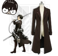 Anime Attack on Titan Trench Coat Men Handsome Brown Shingeki no Kyojin Outwear Daily Use Copslay Cloth
