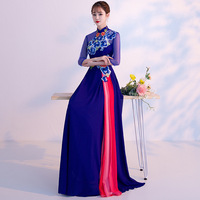 Oriental Womens Party Cheongsam Wedding Evening Dress Traditional Chinese Elegant Qipao Long Robe Retro Vestido