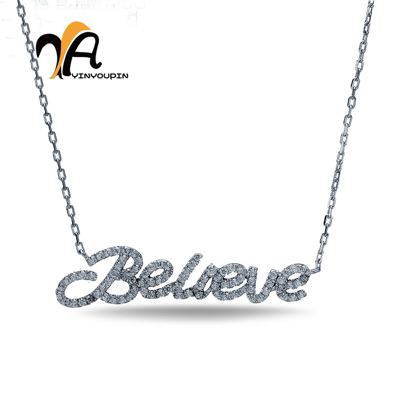 YA YIN YOU PIN S925 Pure Silver Necklace Letter Modeling Light And Extravagant Smooth Polished Professional Jewelry Store