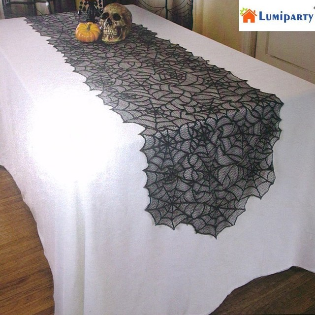 LumiParty Halloween Party Black Lace Spider Web Tablecloth Table Cover For  Festival Cosplay Parties, Home