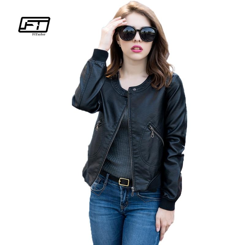 Fitaylor Faux   Leather   Jacket Women Soft PU   Leather   Outwear Plus Size Biker Coat Short Design Black Jacket