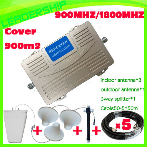 1 Set GSM/DCS 900Mhz/1800Mhz Mobile Phone Signal Repeater Dual Band Repeater GSM 180MHZ Booster+indoor/outdoor Antenna+50M Cable