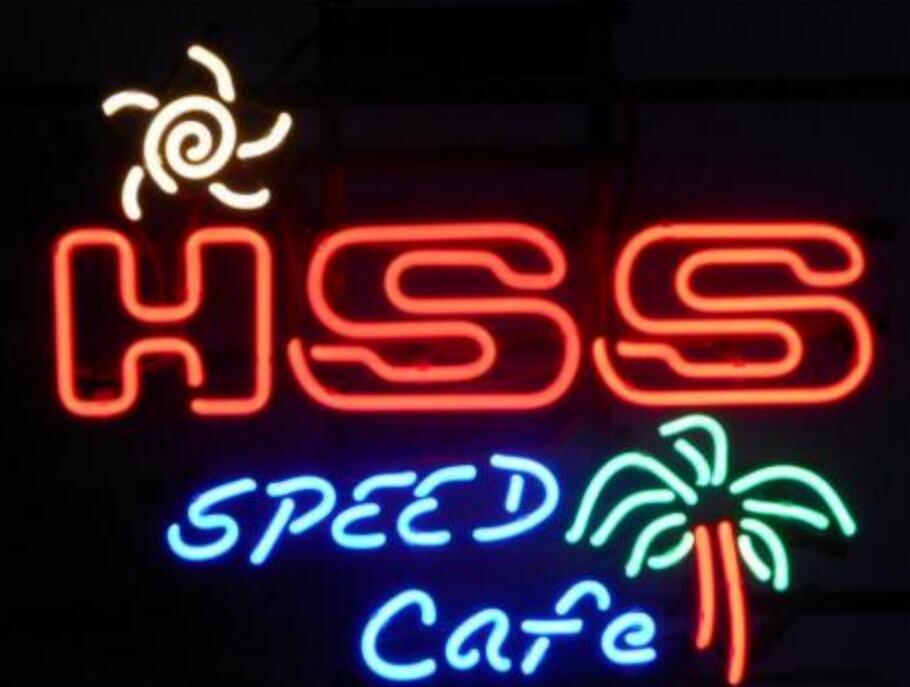 Barre de bière de signe de néon en verre de café de vitesse faite sur commande de HSS