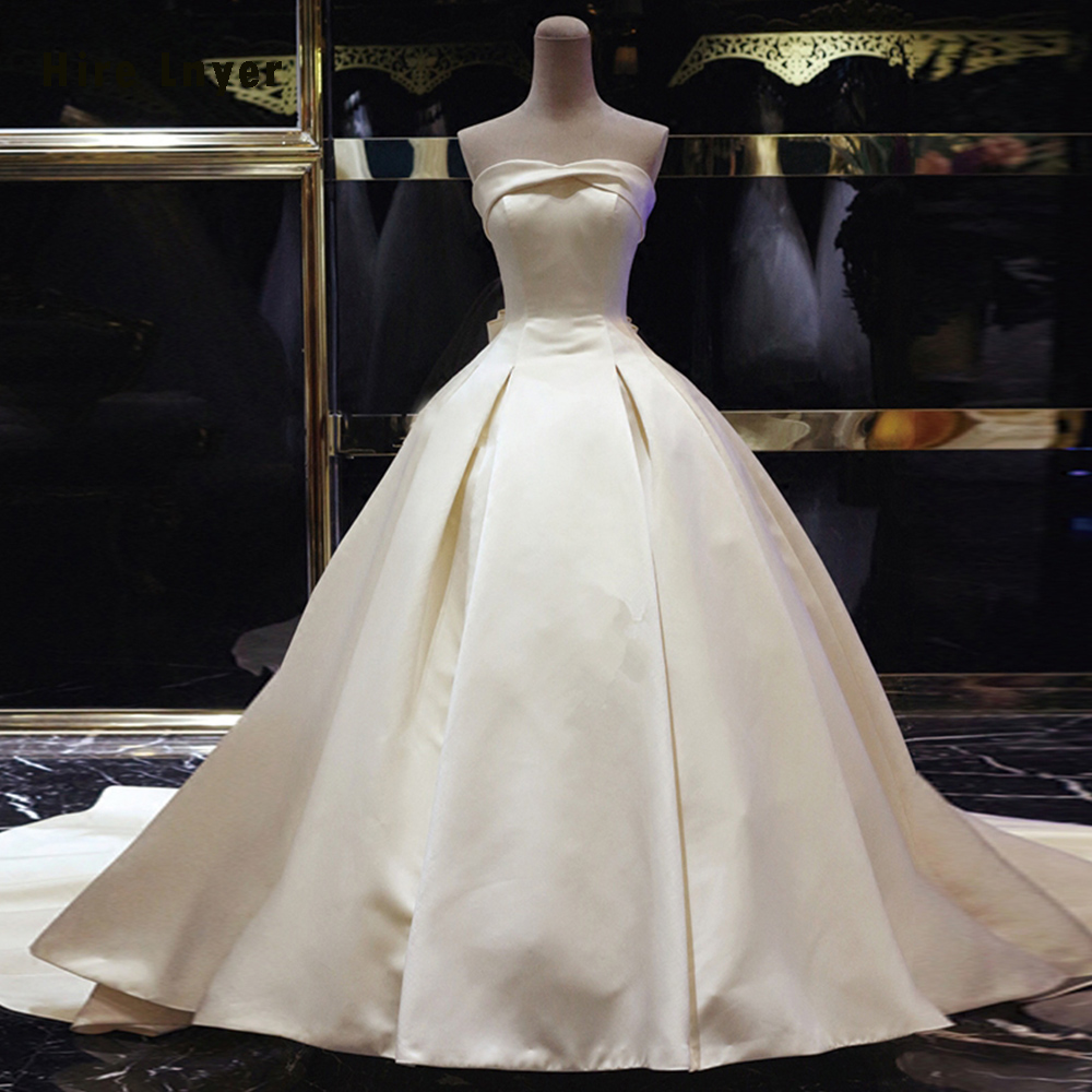 Cheap Wedding Dresses To Rent: HIRE LNYER Vestido De Noiva France Satin Bow Ball Gown