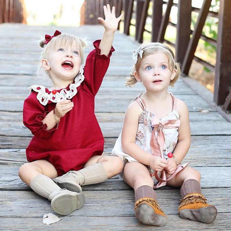 Рождество стиль одежда для малышей Комбинезоны для малышек Длинные рукава для маленьких девочек Костюмы Кружево круглым вырезом детские халаты Одежда для новорожденных