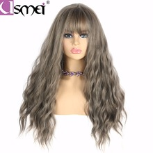 USMEI Hair thin bangs Long gray natural wave Wig Synthetic Wigs Black brown 28inch High Temperature Fiber women wig 6 colors