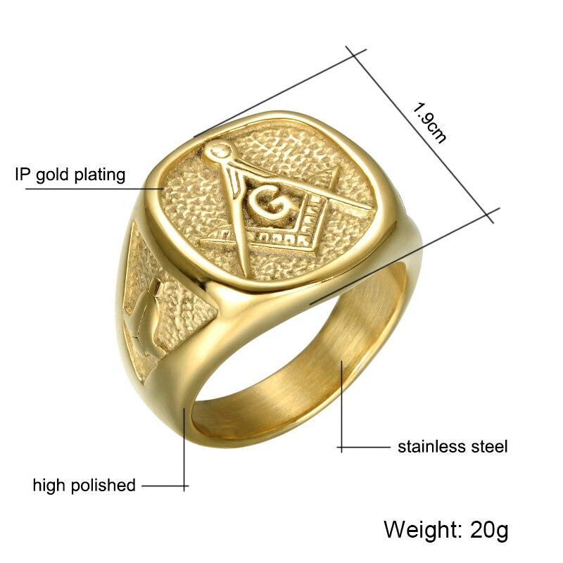US7 IP Gold Plating Color Masonic Rings Stainless Steel Freemason Bling Bling Signet Ring For Men Bague Finger Band Ring Jewelry