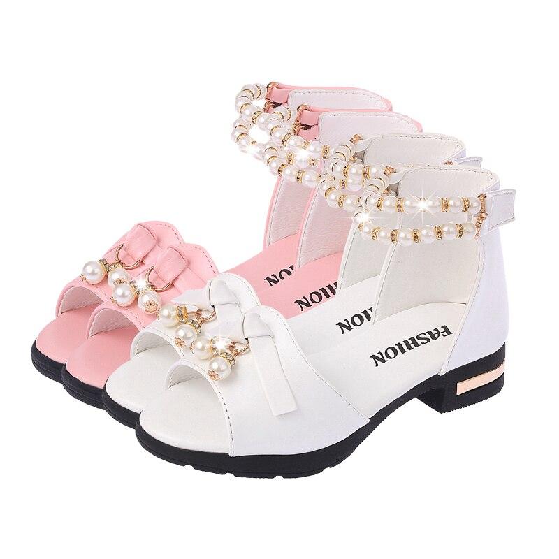 Summer Girls Sandals Children Shoes Rhinestone Princess Dress Shoes Flip Flops With Elastic Band Beach Sandal Size EUR26-36