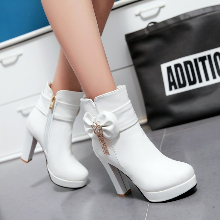 17_2016 Autumn Korean Womens Pink Dress Booties Shoes Princess Bow High Heels Black And White Platform Ankle Boots For Winter