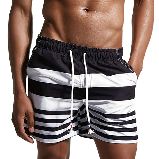 Brand Board Shorts Men Beach Swimwear Swim Short Trunk Stripes Bermudas Man Boardshorts Male Sweatpants Sport Inside Mesh Liner