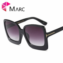 MARC 100%UV400 2018NEW WOMEN MEN sunglasses Shield Gradient Plastic oculos Fashion Goggle gafas Gray Red eyewear sol Square