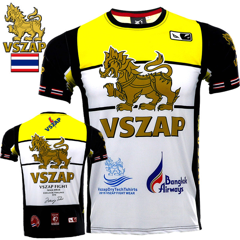 VSZAP Quick-drying Jersey MUAY THAI THAI Boxing Short Sleeve T-shirt For MMA Fitness Elastic Fighting Men Gym Fighting Shirts