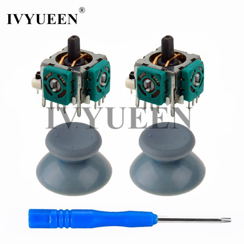IVYUEEN 2 Pcs 3d Analog Stick Sensor Potentiometers + 2 X Thumb Sticks Cap Cover For Microsoft Xbox 360 Controller Repair Parts