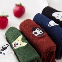 5 Pairs Winter Cotton Embroidery Pug Husky Bulldog Pattern Socks Warm Cute Cartoon Animal Dog Socks