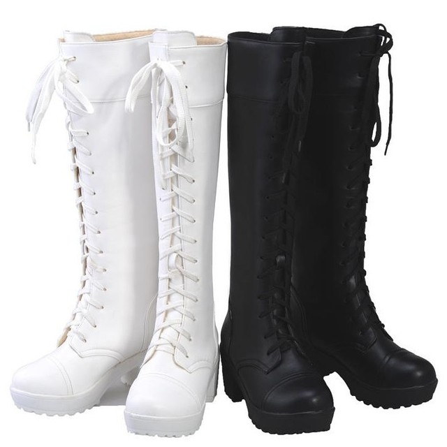Cosplay punk lace up black white leather thick chunky high heel platform  knee high lace up riding combat boots for women 2014 0ff5bc6e0aca