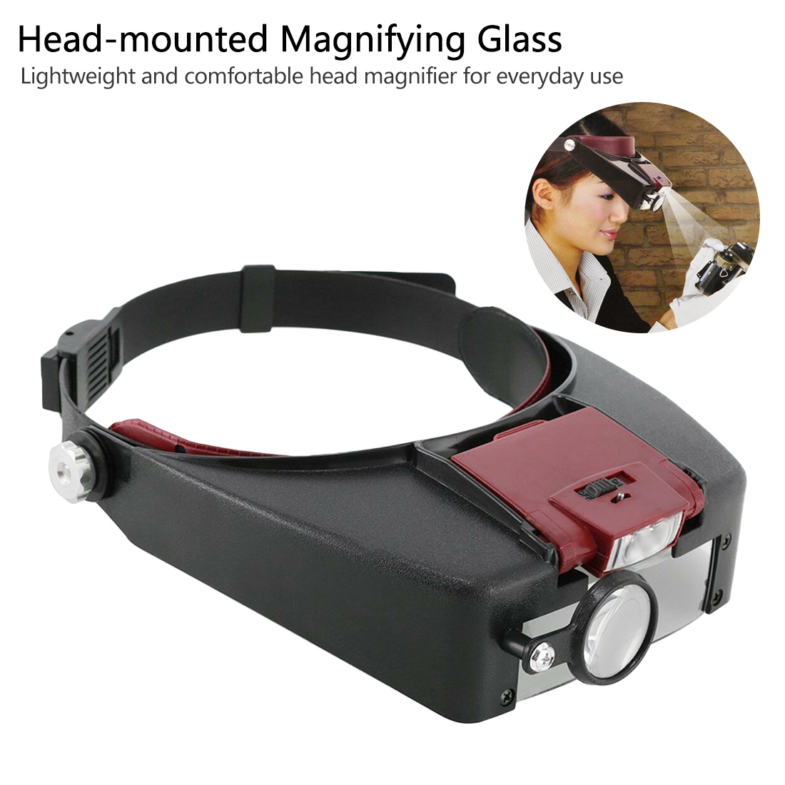 Head Magnifying Glasses With LED Magnifier Magnifying Glass Loupes For Reading Jewelry Watch Repair|Magnifiers| |  - title=