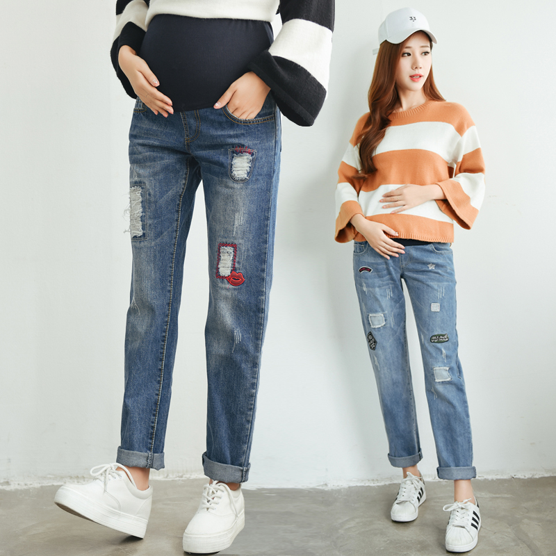 ФОТО 2016 winter solid maternity jeans denim black and blue maternity pants for pregnancy clothes for pregnant women