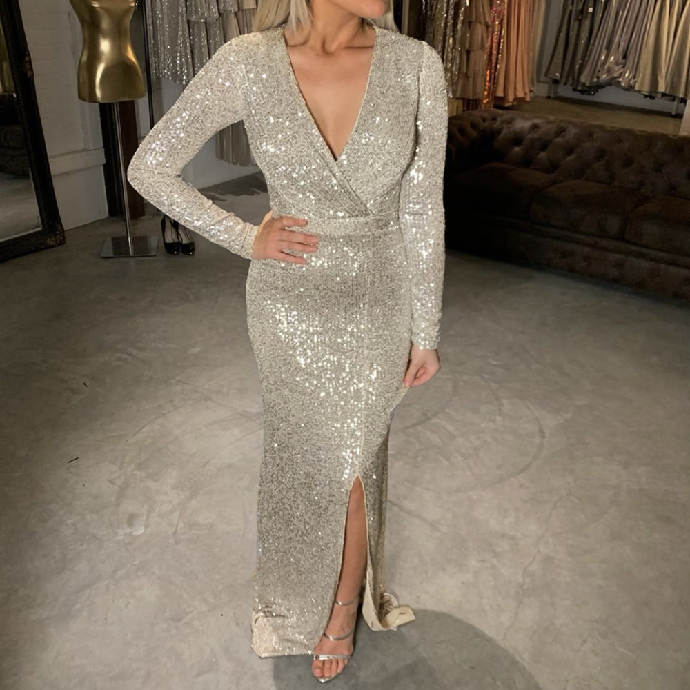 Silver Full Sleeved V Neck Sequined Prom Dress Low Cut Split Leg Beige Wrapped Evening Maxi Dress Burgundy Black Green
