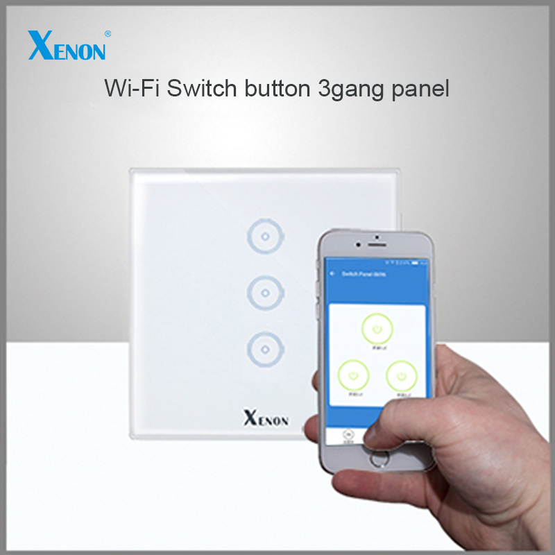 ФОТО Manufacturer Xenon Wall Switch 110~240V Smart Wi-Fi Switch button Glass Panel 3-gang Ivory White EU Touch Light Switch panel