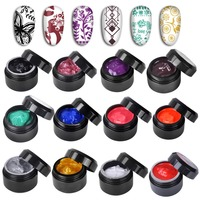 Biutee 12 Colors/Set Nail art UV Gel Paint Painting Gel Polish Drawing Lacquer For Nail Manicure Art Template Stamping polish