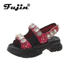 Fujin Women Sandals Female Summer Flat Bottom Wild Thick Rhinestone Rivet Hook Loop Paste Platform Dropshipping